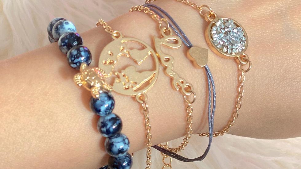 Grey Earth bracelet 5 piece set