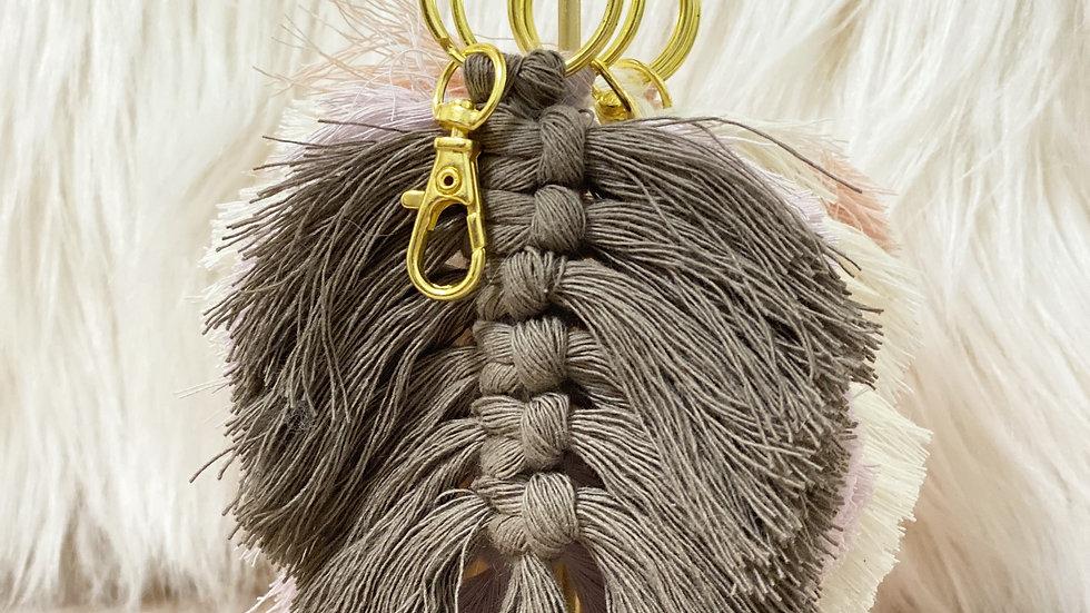 Macrame Feather Leaf Keychain