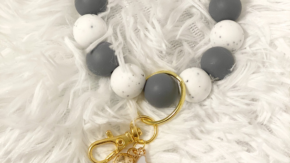 Gray and Marble Silicone Keychain Bracelet
