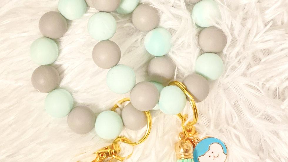 Gray/Mint Silicone Keychain Bracelet