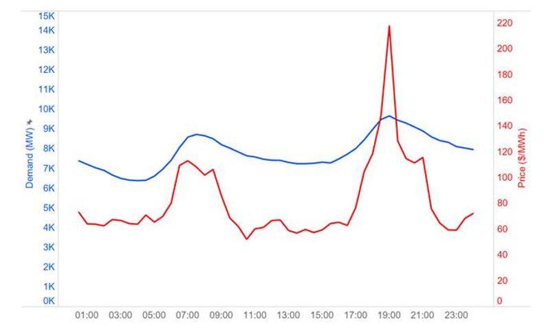 Wholesale Spot Power Price 24 Hour Fluct