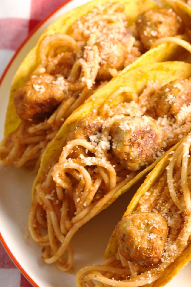 Spaghetti and meatball in a taco shell
