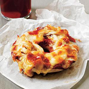 Cheesy Chicken Bagel Pizzas