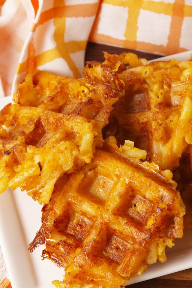 MAC AND CHEESE IN THE SHAPE OF A WAFFLE