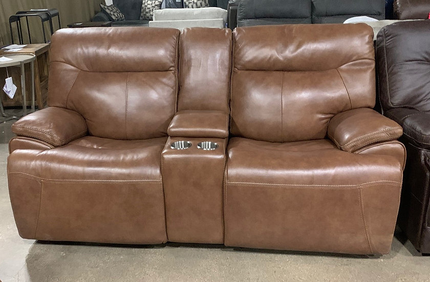 Flexsteel Saddle Power Reclining Loveseat with Console- 09550