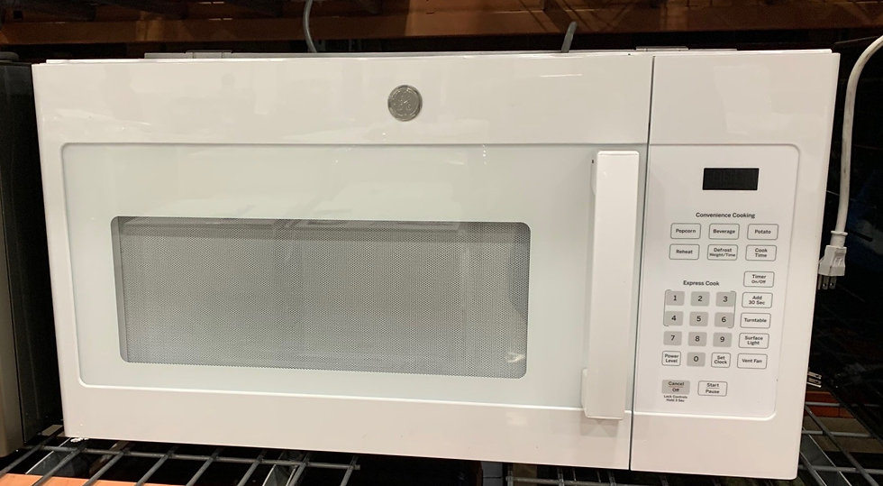 GE 1.5 CF Vented OTR Microwave White- 10710