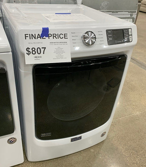 Maytag 7.3 CF Front Load Electric Dryer White- 303