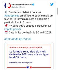 Fonds de Solidarité Février 2021