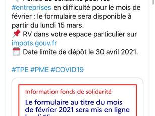 Fonds de Solidarité Février 2021 / Changement pour la restauration rapide