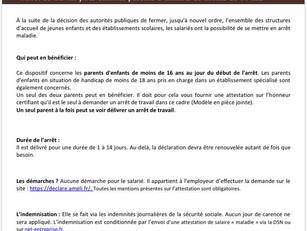 COVID 19 | Arrêt de travail parents salariés
