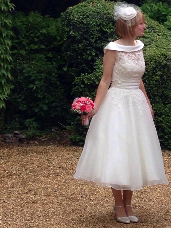 Janice wearing bespoke bridal cap wi