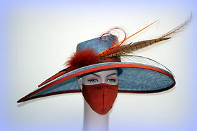 Lace & feather trimmed hat with matching face mask
