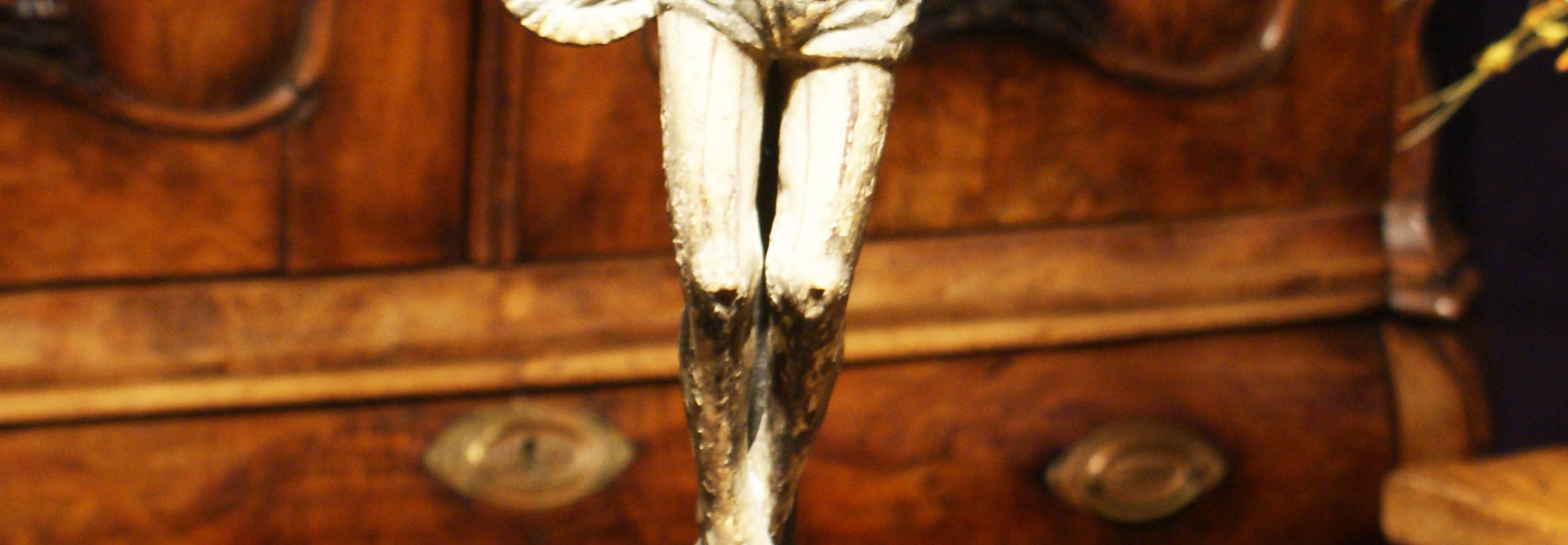 Spanish Colonial 19th Century Polychromed Carved Wood and Gesso Standing Crucifix on Base