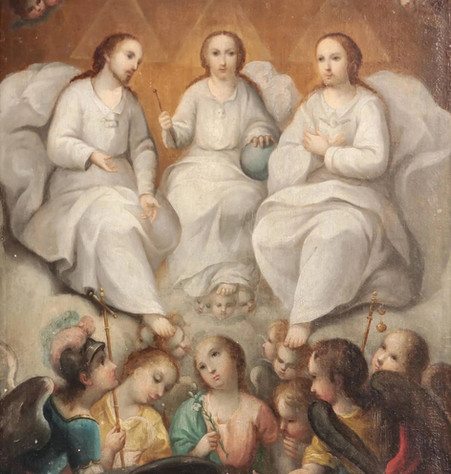 """19th Century Spanish Colonial School """"The Holy Trinity"""" Framed Oil On Canvas Painting"""