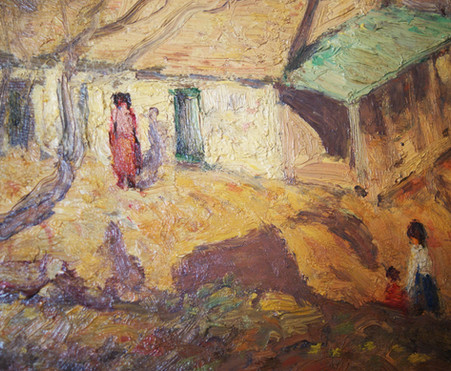 Harry Allis (1870-1938) Oil on Board Impressionist Vilage Scene