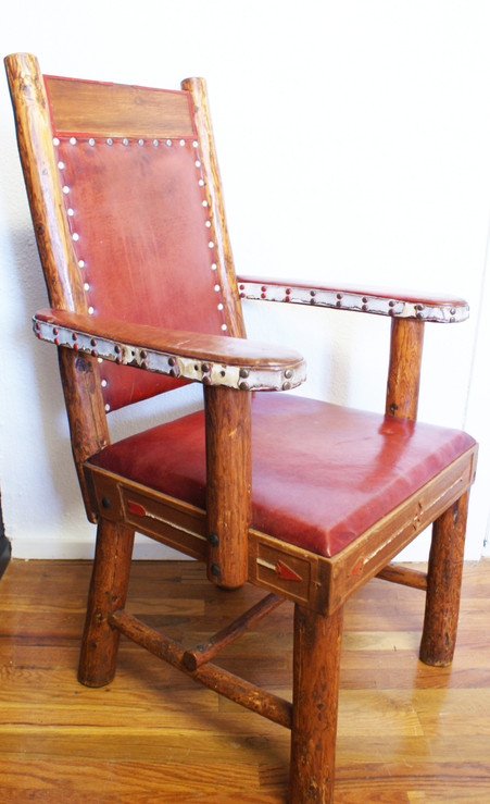 Vintage 1940's Thomas Moleswoth Wyoming Panel-Back Armchair w/ Whirling Log and Arrow Routed And Painted Motif