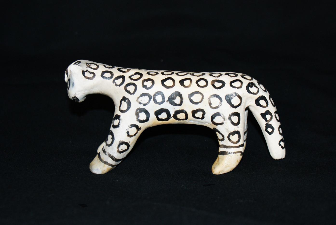 Cochiti Pueblo Black on Cream Pottery Jaguar Figurine