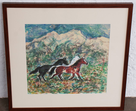 Ila McAfee (1897-1995) Taos, NM Original Signed Watercolor on Crinkle Paper of Three Horses