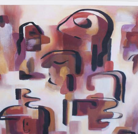 """Brown Abstract"" Duane Van Vachten Taos, NM (1899-1977) Oil on Board"