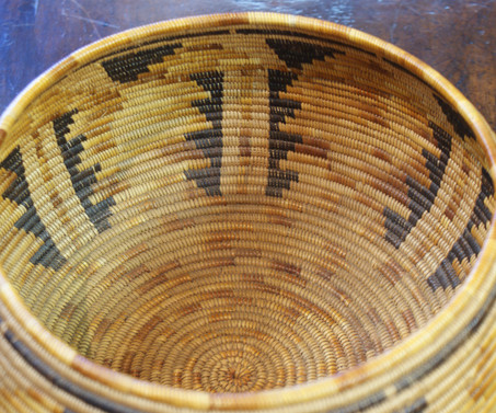 Late 19th - Early 20th Century California Mission Polychrome Woven Coil Basket