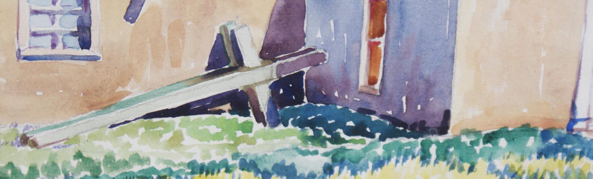 """Suzanne Kutka Boss (1897-1976) Santa Cruz, NM Original Signed Watercolor """"Morada"""""""