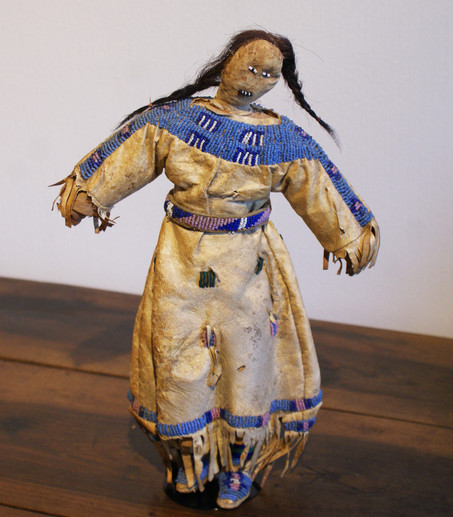 Antique Late 19th Century Shosone Indian Beaded Hide Doll