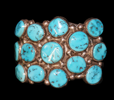 Sterling Silver Navajo 14 Turquoise Stone Bracelet Artist Unknown