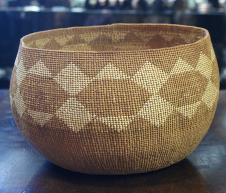 Early 20th Century Yurok-Hupa California Twined Rounded Storage Basket