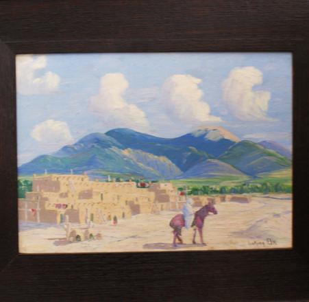 Albert Looking Elk (1888-1941) Taos Pueblo, NM Oil on Board