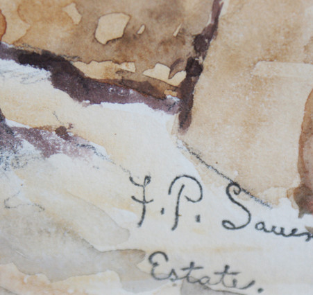 Frank  Paul Sauerwein (1871-1910) Taos, NM Grand Canyon Watercolor on Paper Circa 1890's