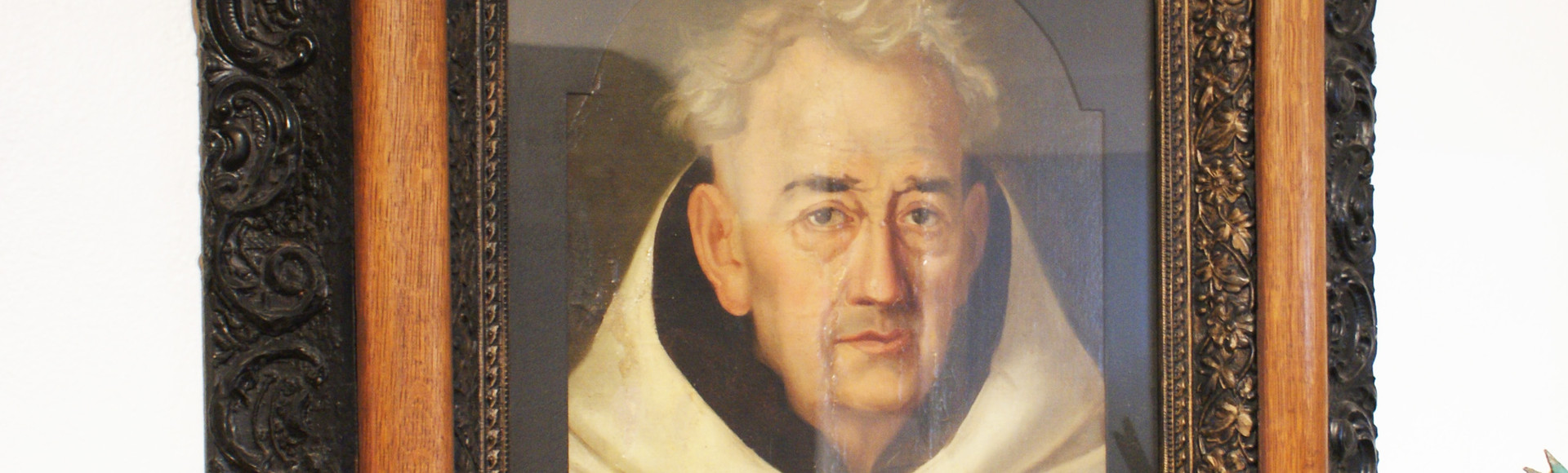 18th Century Spanish Oil on Canvas on Board Portriat of a Monk