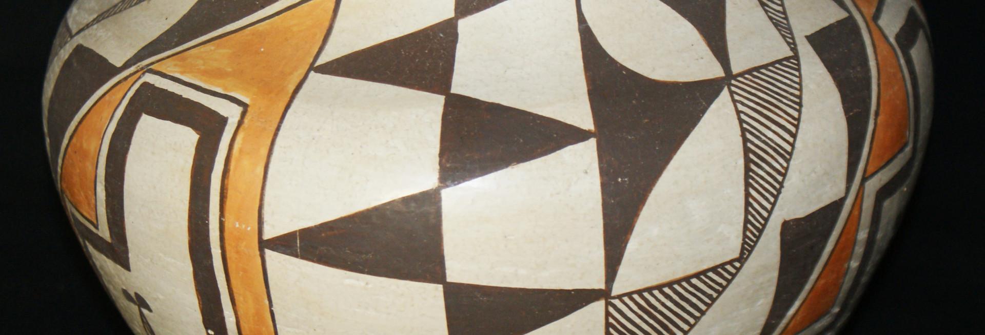Acoma Pueblo Polychrome Pottery Jar with Fine Line and Geometric Designs C. 1940's