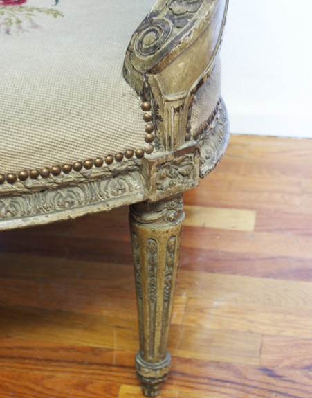 Early 19th Century French Louis XVI Hand Carved Fauteuil Armchair