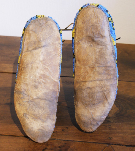 Pair of Antique Circa 1880's Sioux Indian Hightop Blue, Yello, and Green Beaded Moccasins