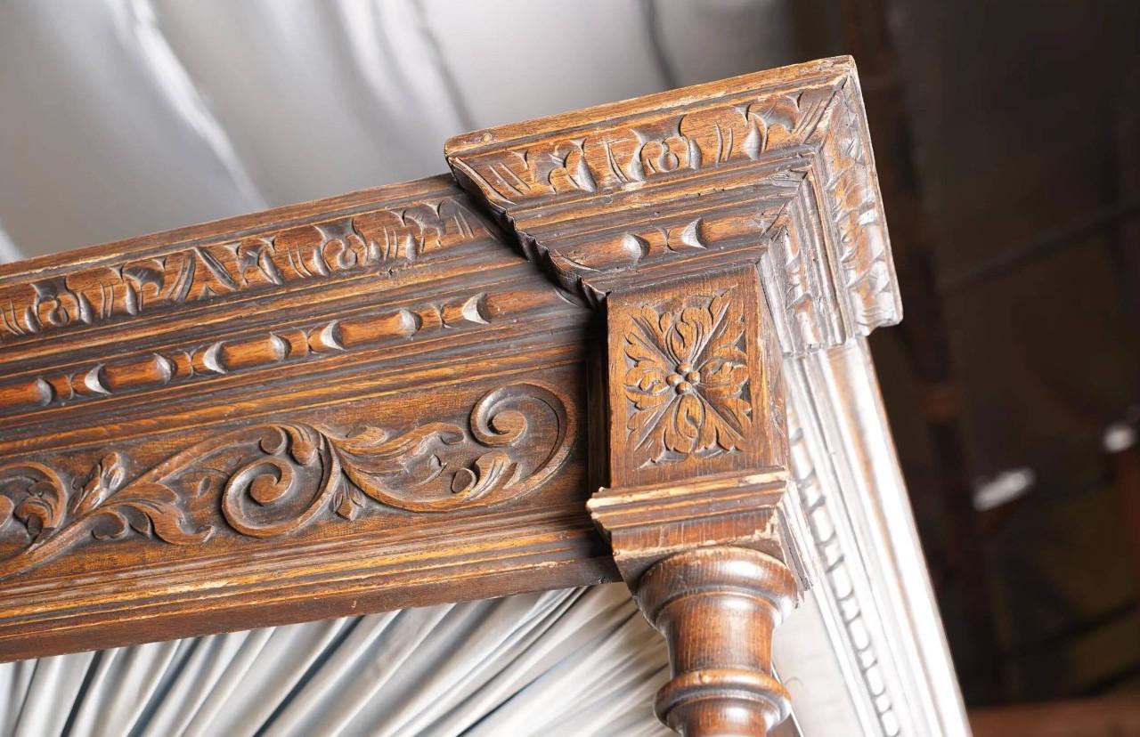 Renaissance Revival Carved Oak King Size Full Teester Bed Circa 1890