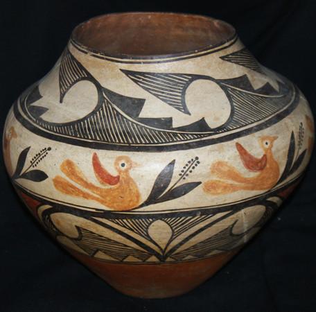 Acoma Pueblo Pottery Olla With Band of Small Birds Circa 1880