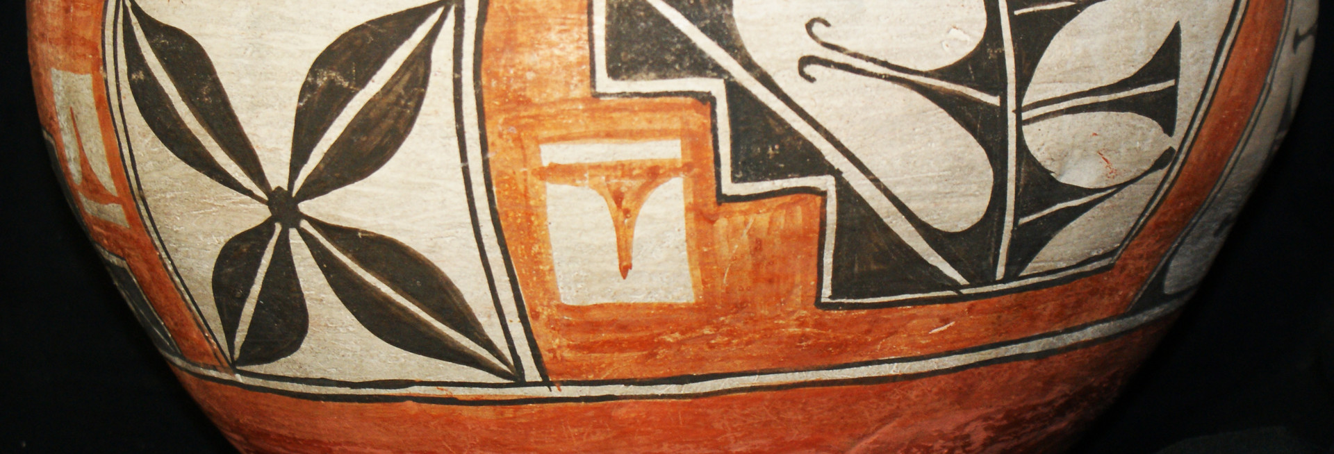 Zia Pueblo Large Historic Polychrome Pottery Dough Bowl