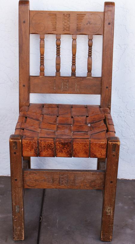 New Mexico WPA Era Cochiti Pueblo Carved Side Chair