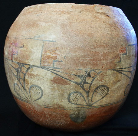 Zia Pueblo Large and Impressive Polychrome Pottery Olla with Ethnographic Wear Circa 1890