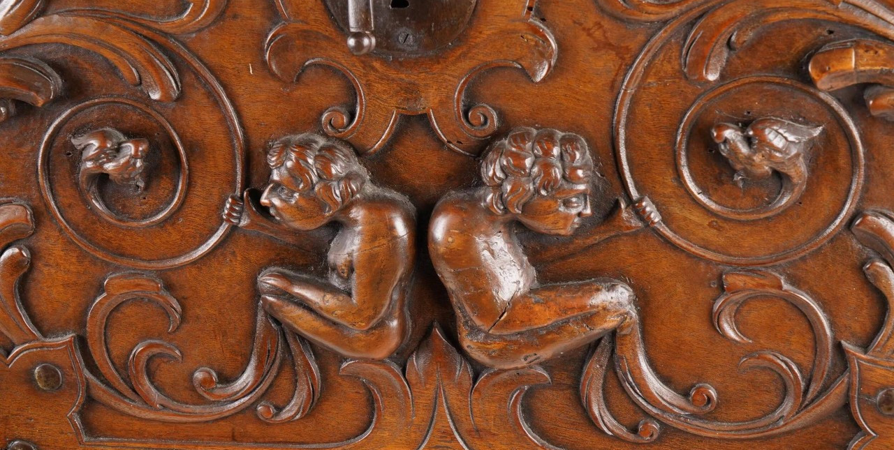 Early 19th Century Spanish Baroque Style Hand Carved Vargueno Drop Front Desk