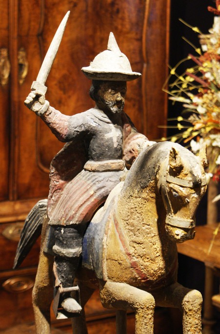 Saint James The Moor-Slayer (Santiago Matamoros) Late 18th Century Polychromed Carved Wood and Gesso Figure