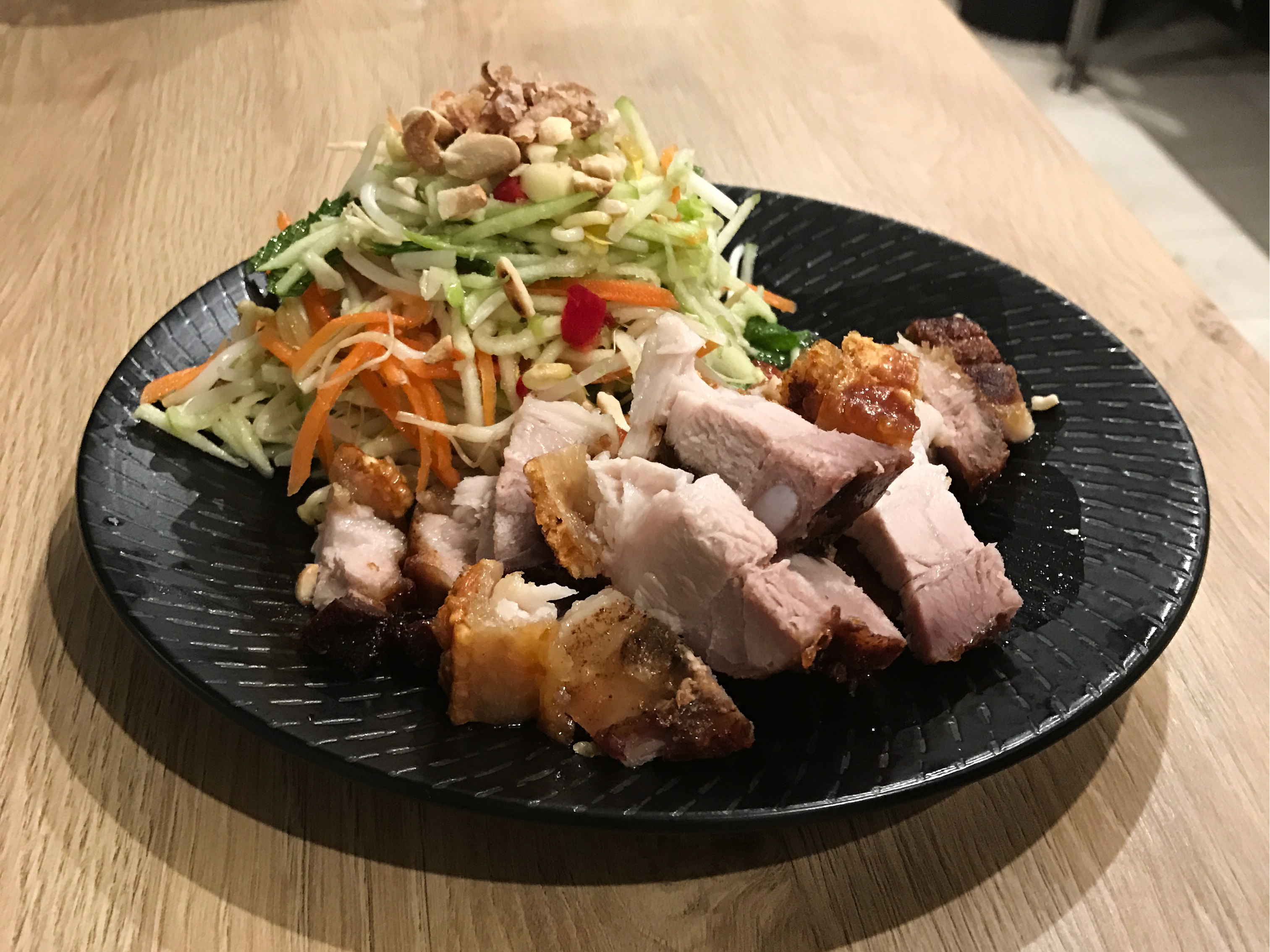 Crispy Pork Belly with Green Pawpaw Salad