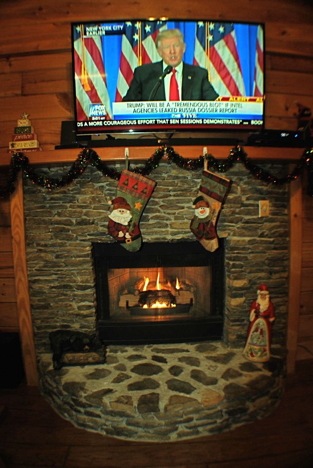 Gas Fireplace at Christmas