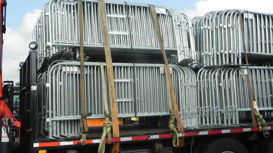 Pedestrian Barriers Loaded for Delivery