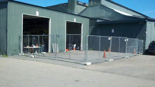 Temporary Fence Panels with Concrete Blocks