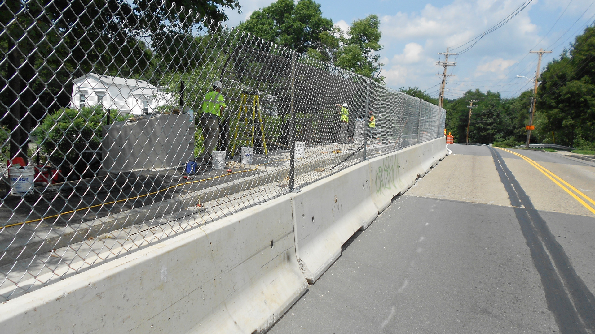 Temporary Fence on Jersey Barrier