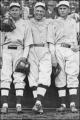 "Lewis, Speaker and Hooper, the ""Golden Outfield"" or ""Million-Dollar Outfield."" Public Domain."