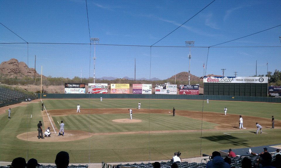 Arizona Fall League game, 2011.  There's a chance there's a Phillies prospect on the field if you squint.  PS Talbot.