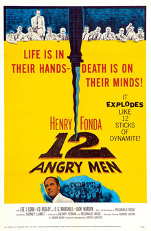 Not to give anything away but they're angry because Henry Fonda ruined the table with his knife. 12 Angry Men movie poster, 1957.