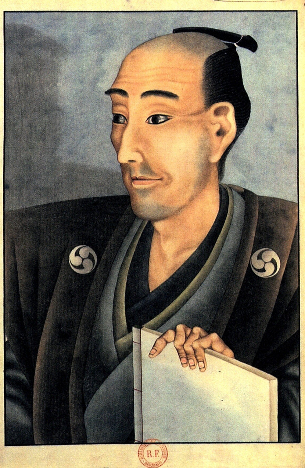 Man with samurai style haircut.